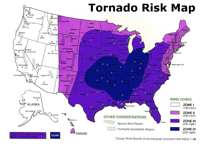 Tornado Bunker Underground Storm Shelters And Safe Rooms - Tornado maps in us